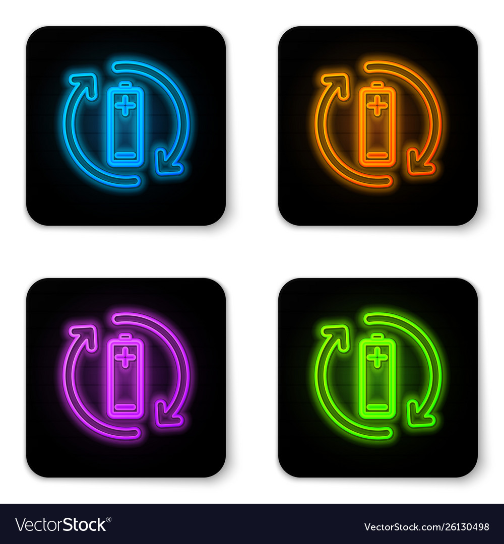 Glowing neon battery with recycle symbol line