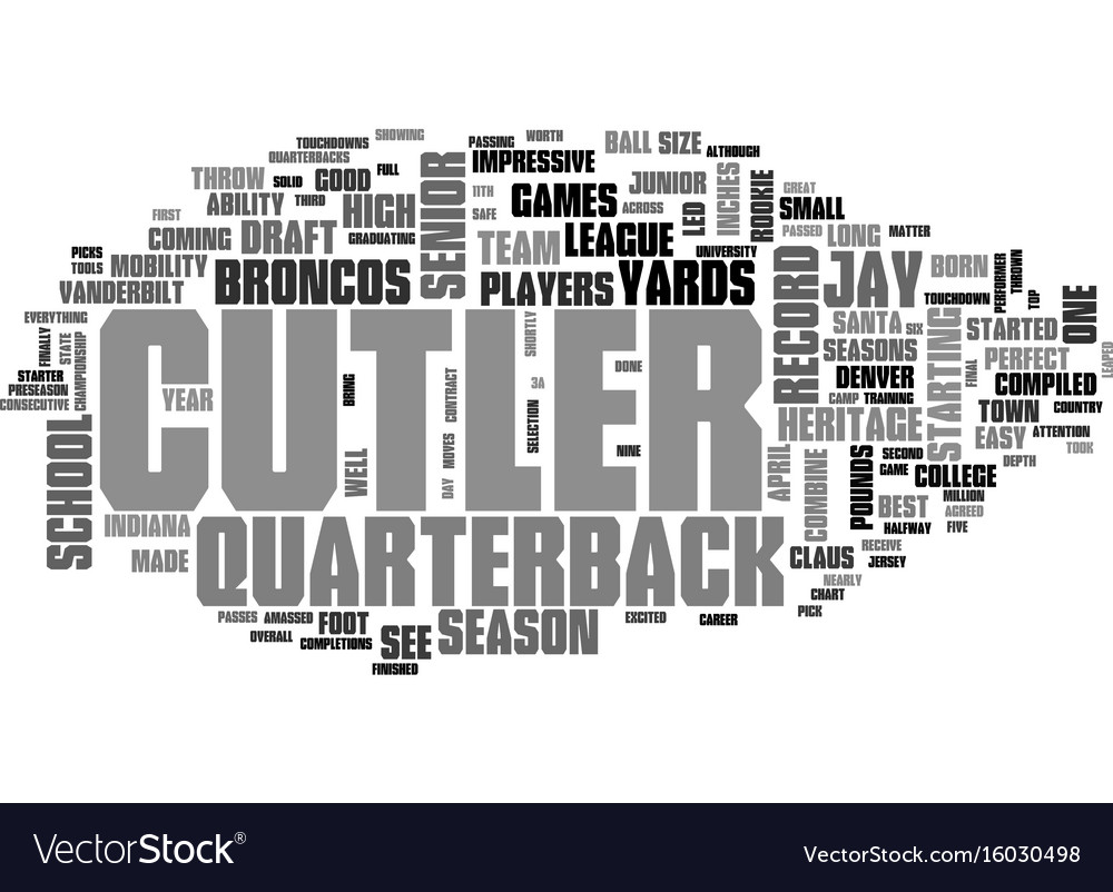 Jay cutler draft day picks text background word