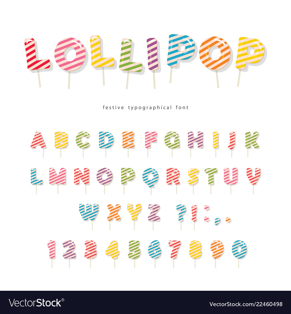 Lollipop candy glossy font design colorful abc