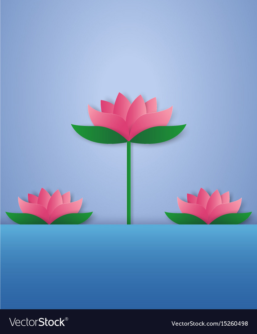 Lotus In A Pond Paper Art Style Royalty Free Vector Image