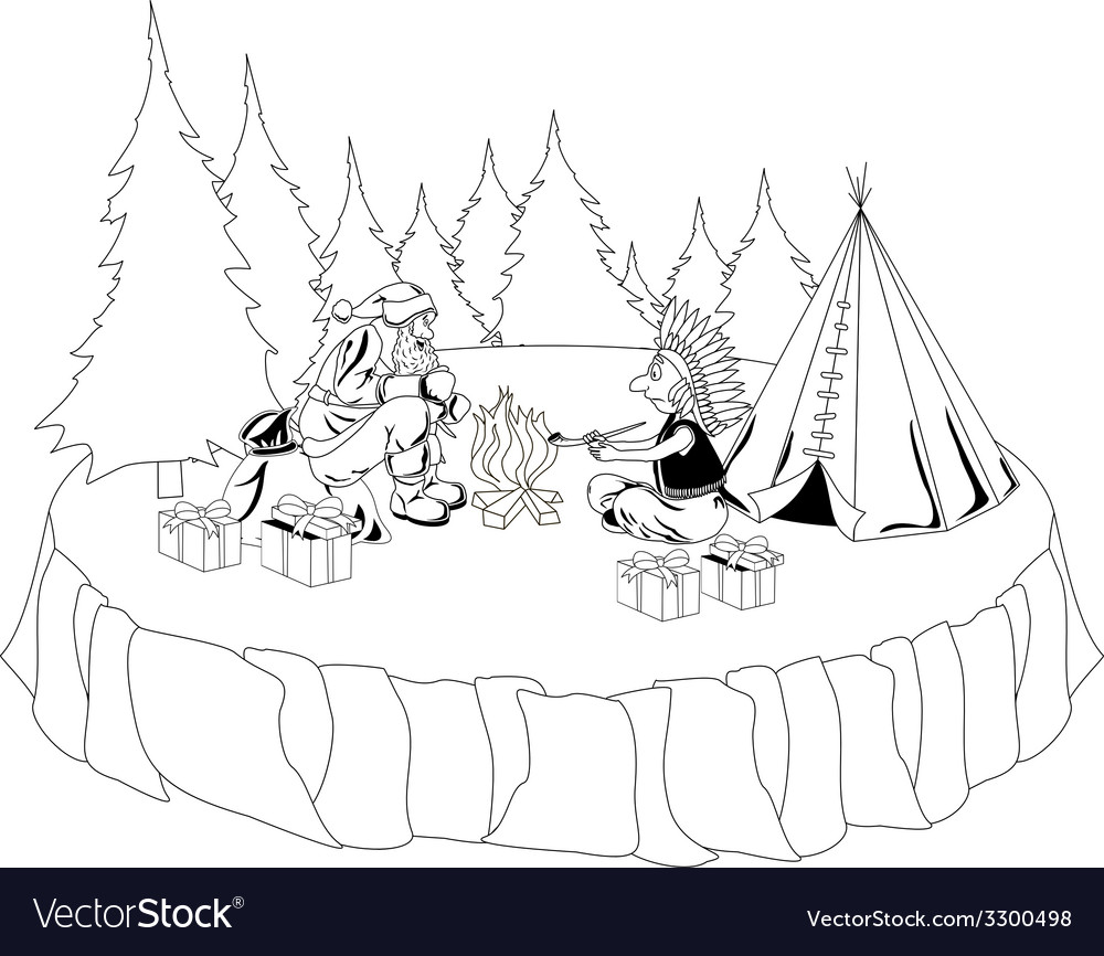 Santa Claus and American Indian chief