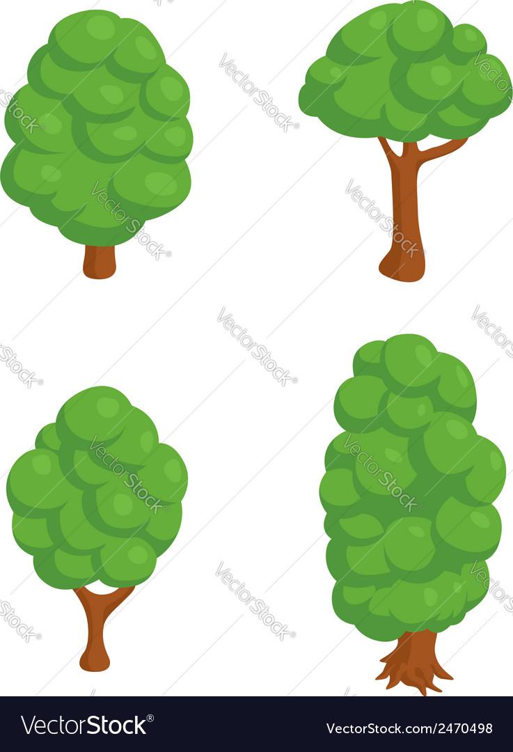Set of 4 Isometric Trees vector image