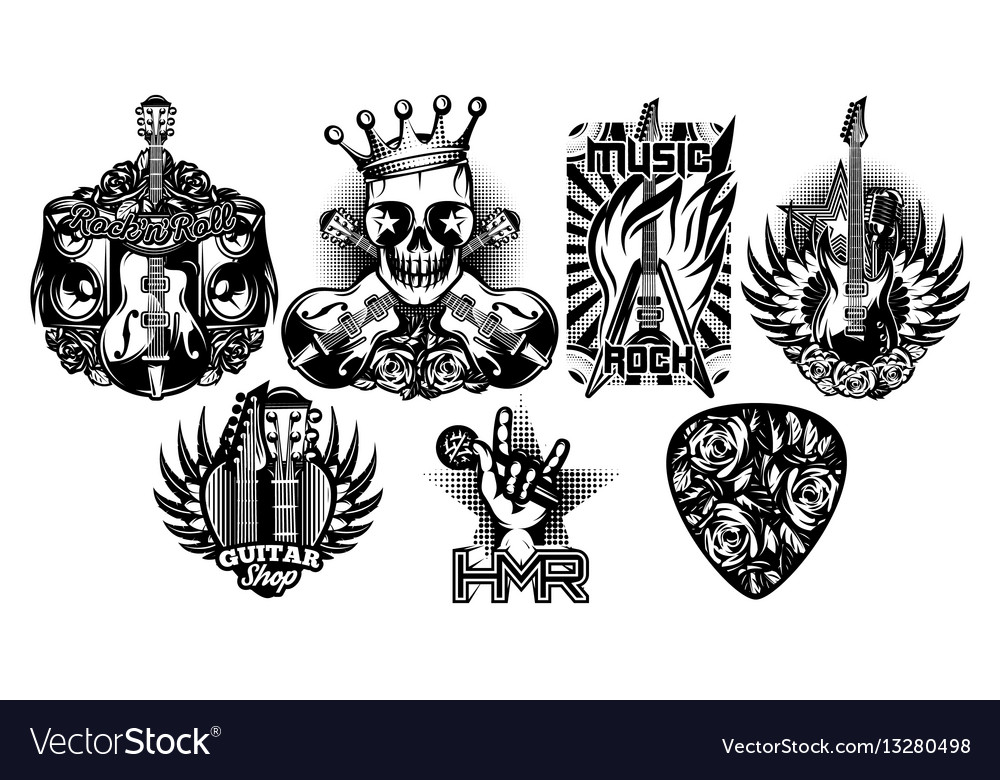 Set of monochrome pattern on the theme of vector image