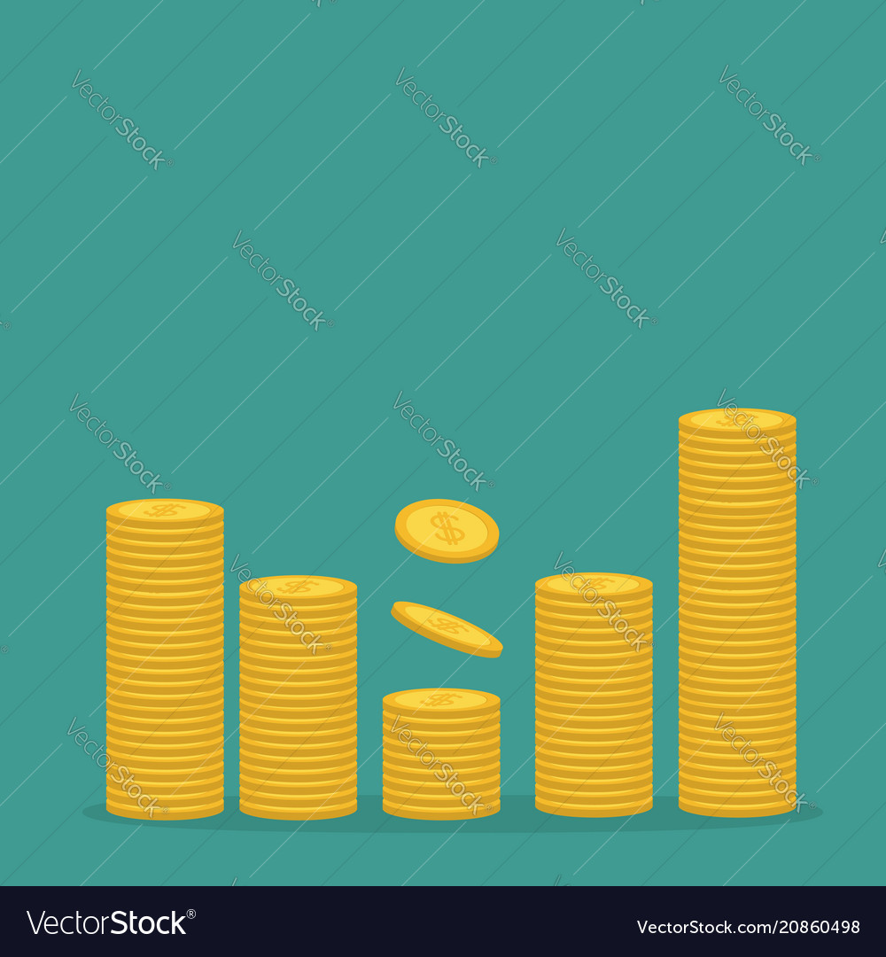 Stacks of gold coin icon diagram shape dollar