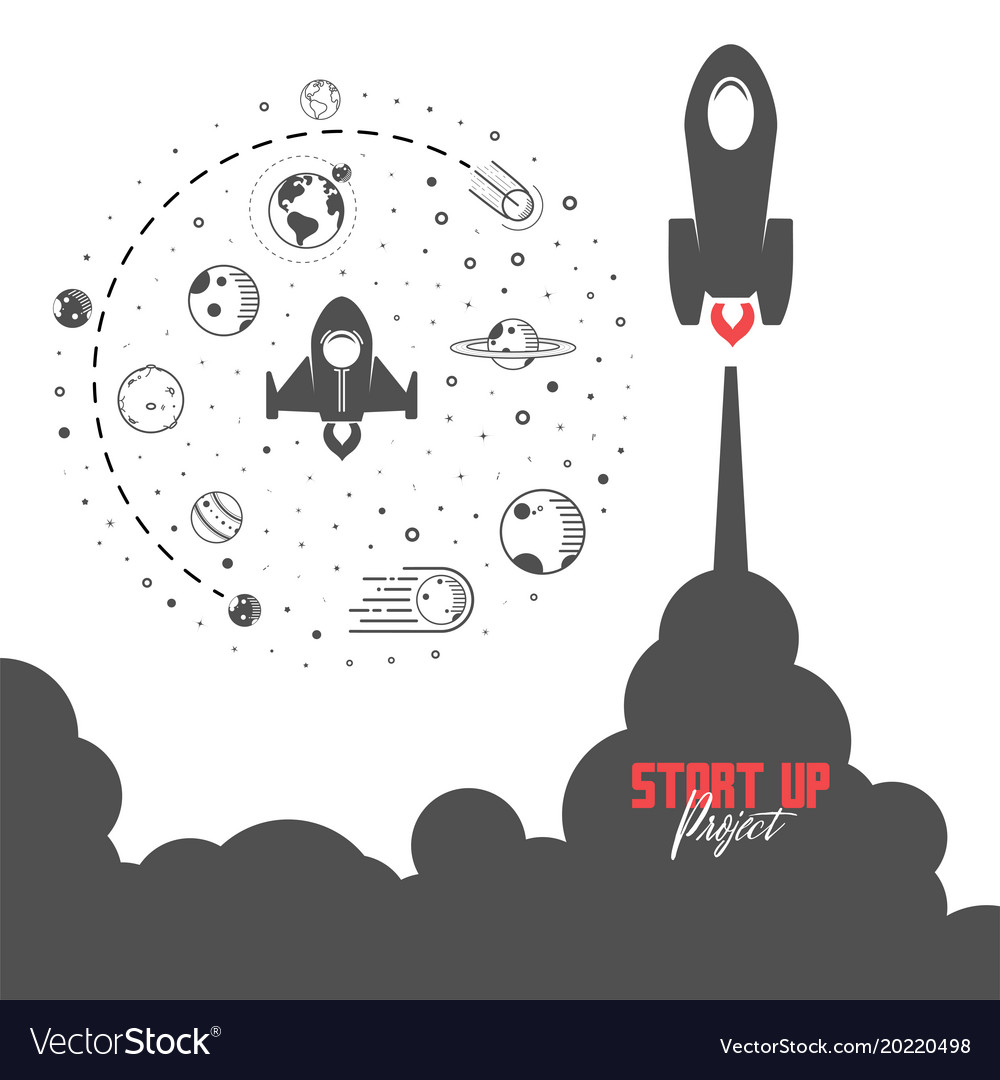 Startup project concept flat design missile and