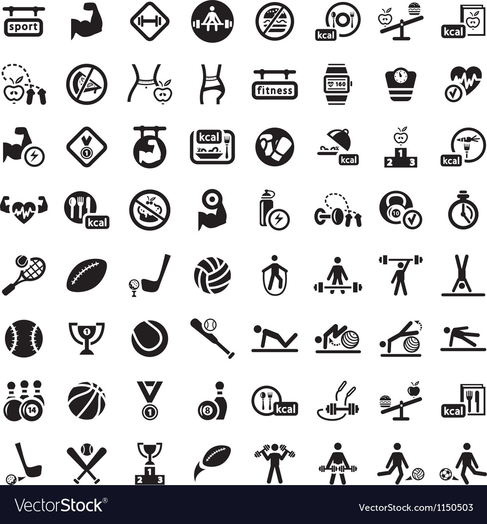 Big fitness icon set vector image