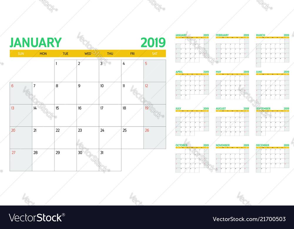 Calendar planner 2019 template