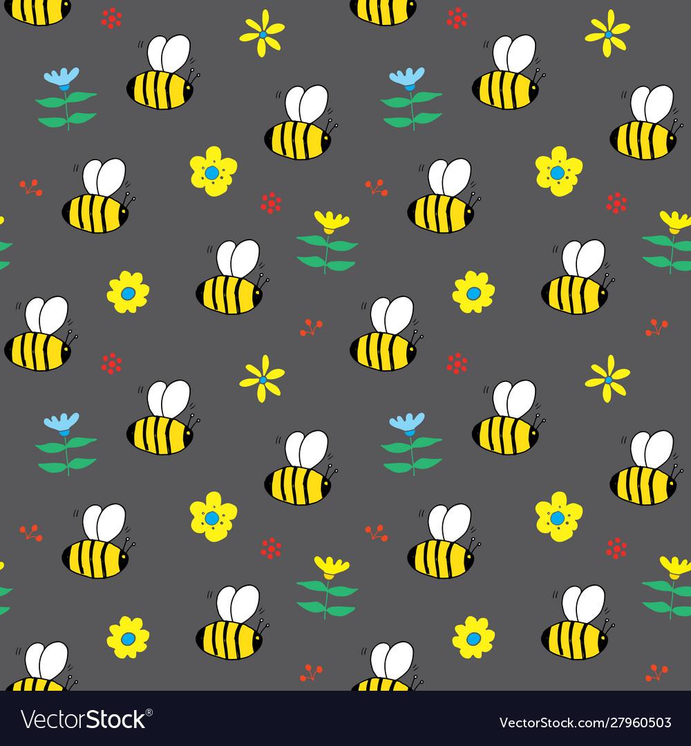 Cute bee seamless pattern cartoon hand drawn