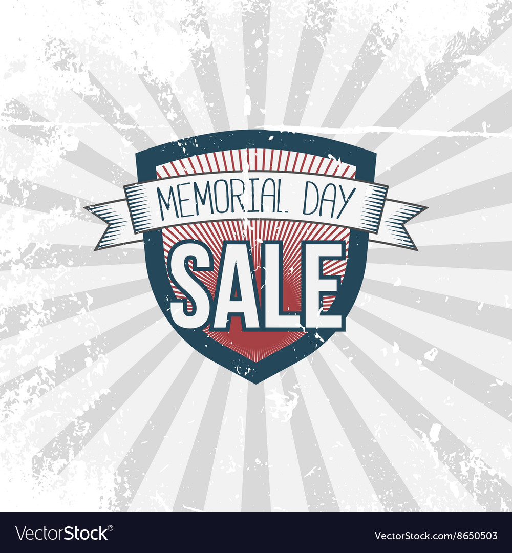 Memorial Day Sale Label and Ribbon with Text