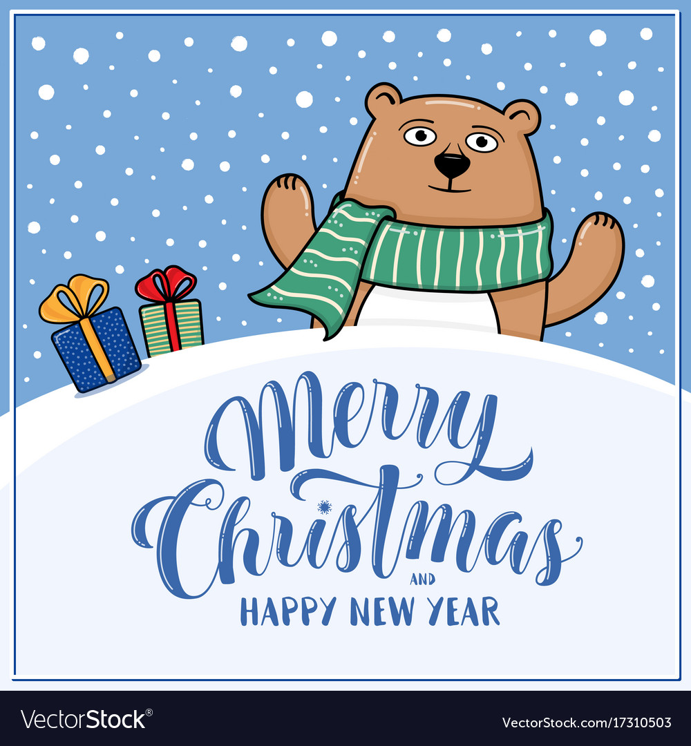Christmas Wishes Bear.Merry Christmas Greeting Card With Bear