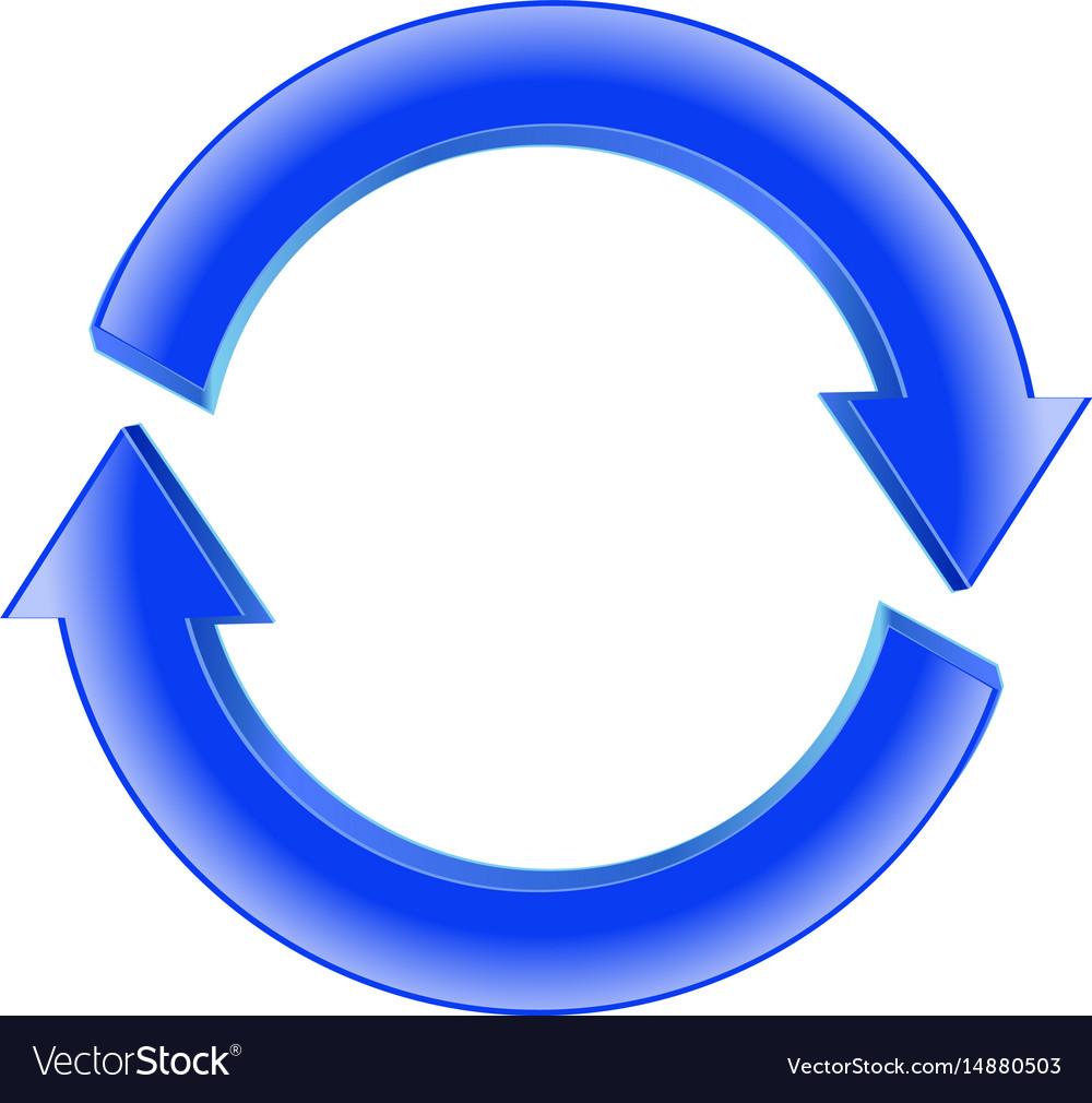 Refresh icon shiny blue sign circular arro