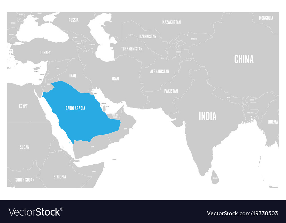 Saudi arabia blue marked in political map of south