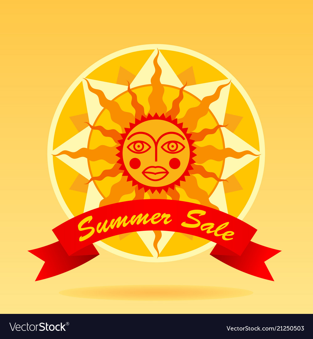 summer sale sign with cartoon decorative sun and vector image