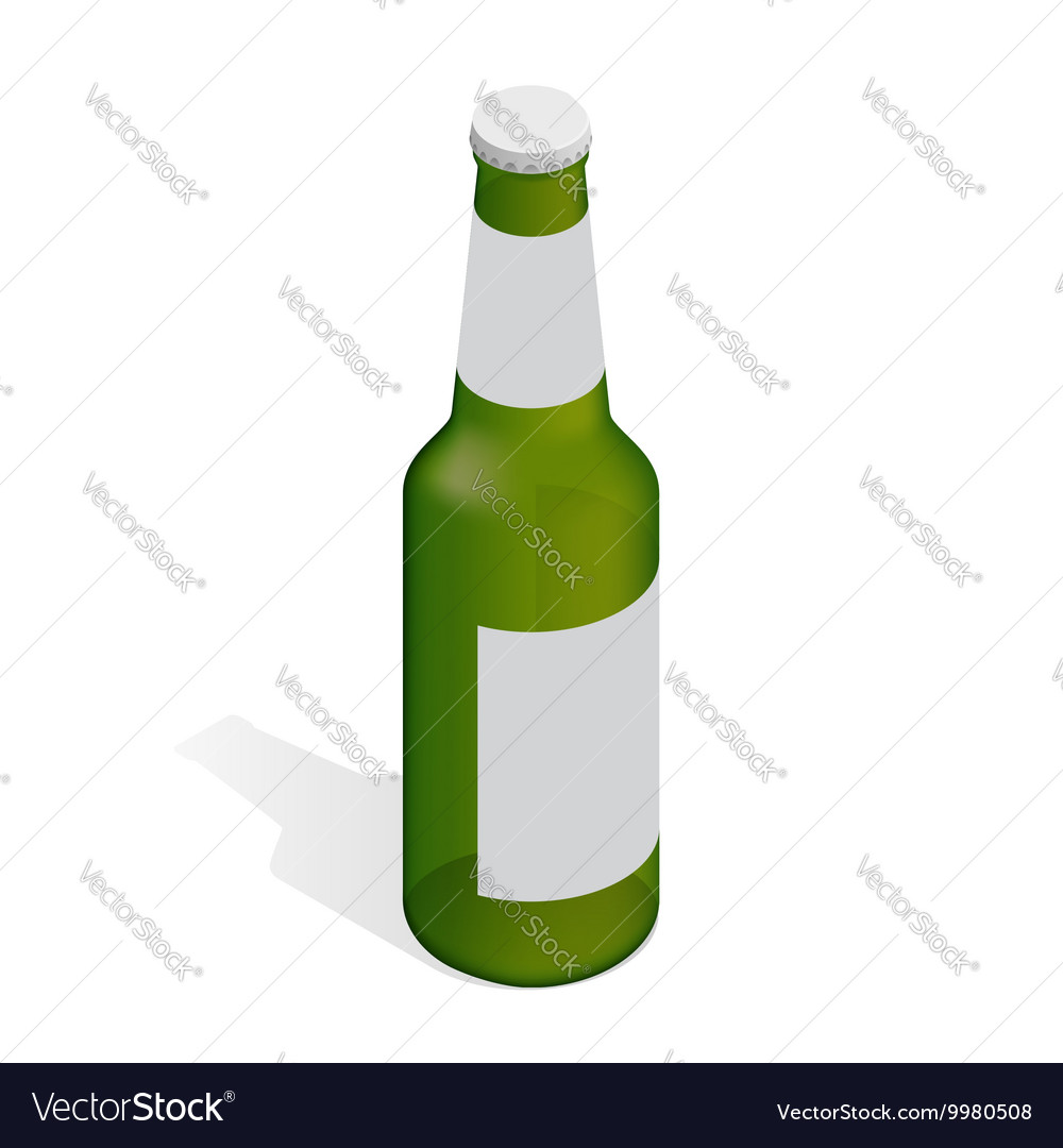 Bottle of beer with drops Flat 3d isometric