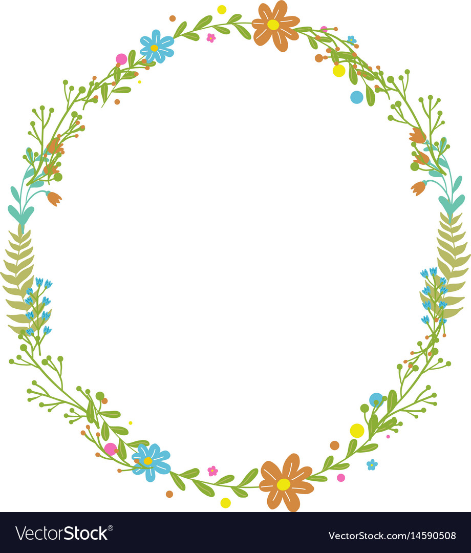 Flowers set beautiful wreath elegant