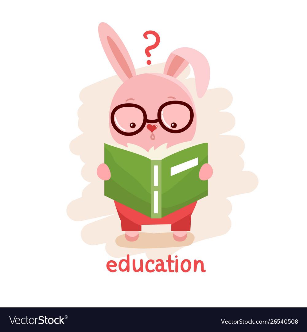 Rabbit reading a book