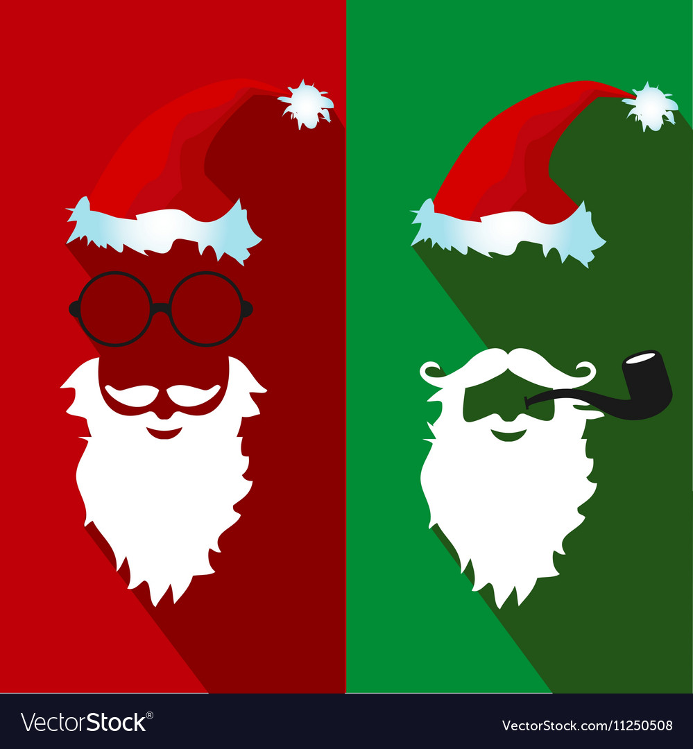 ae1a5279f50 Santa claus face flat icons with long shadow Vector Image