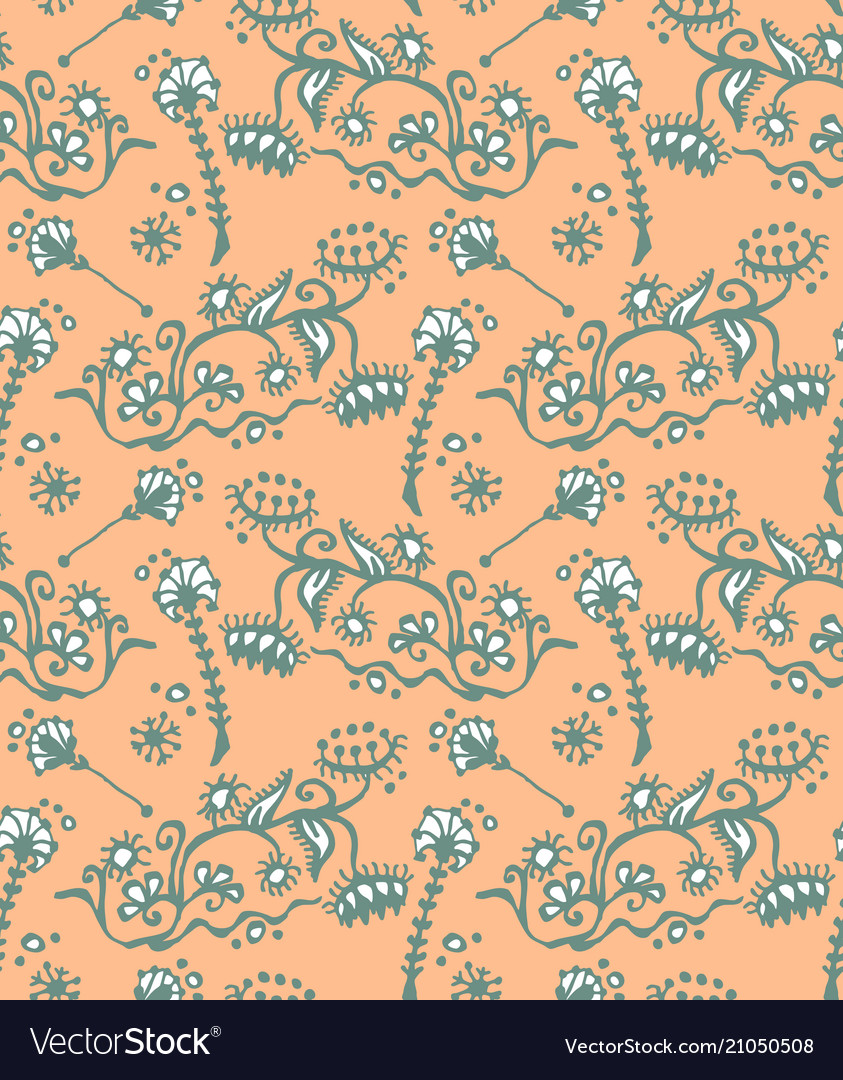 Seamless pattern of hand drawn floral elements