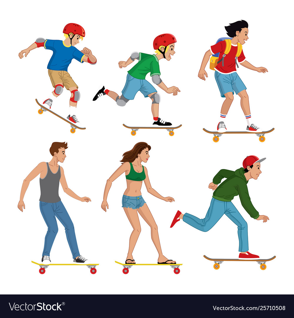 Set people with skateboard