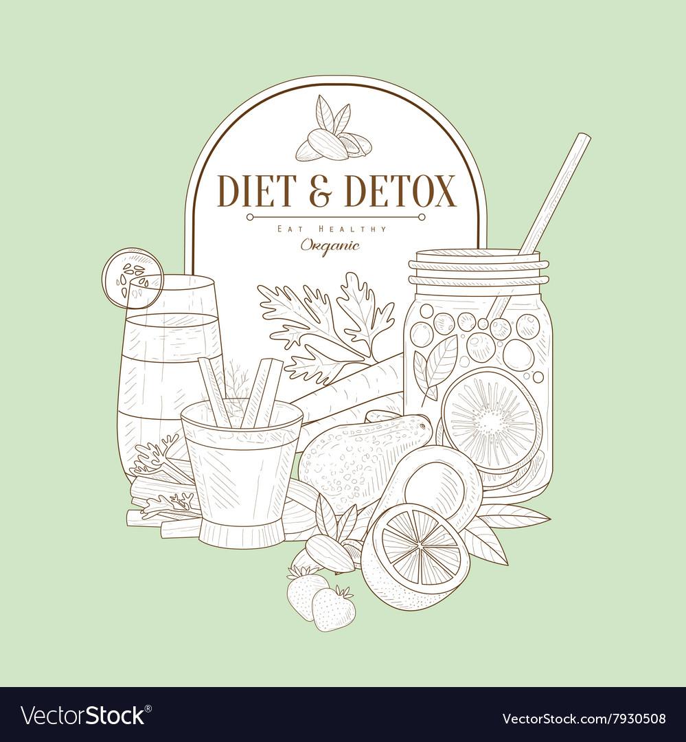 Vintage Sketch Of Diet Food