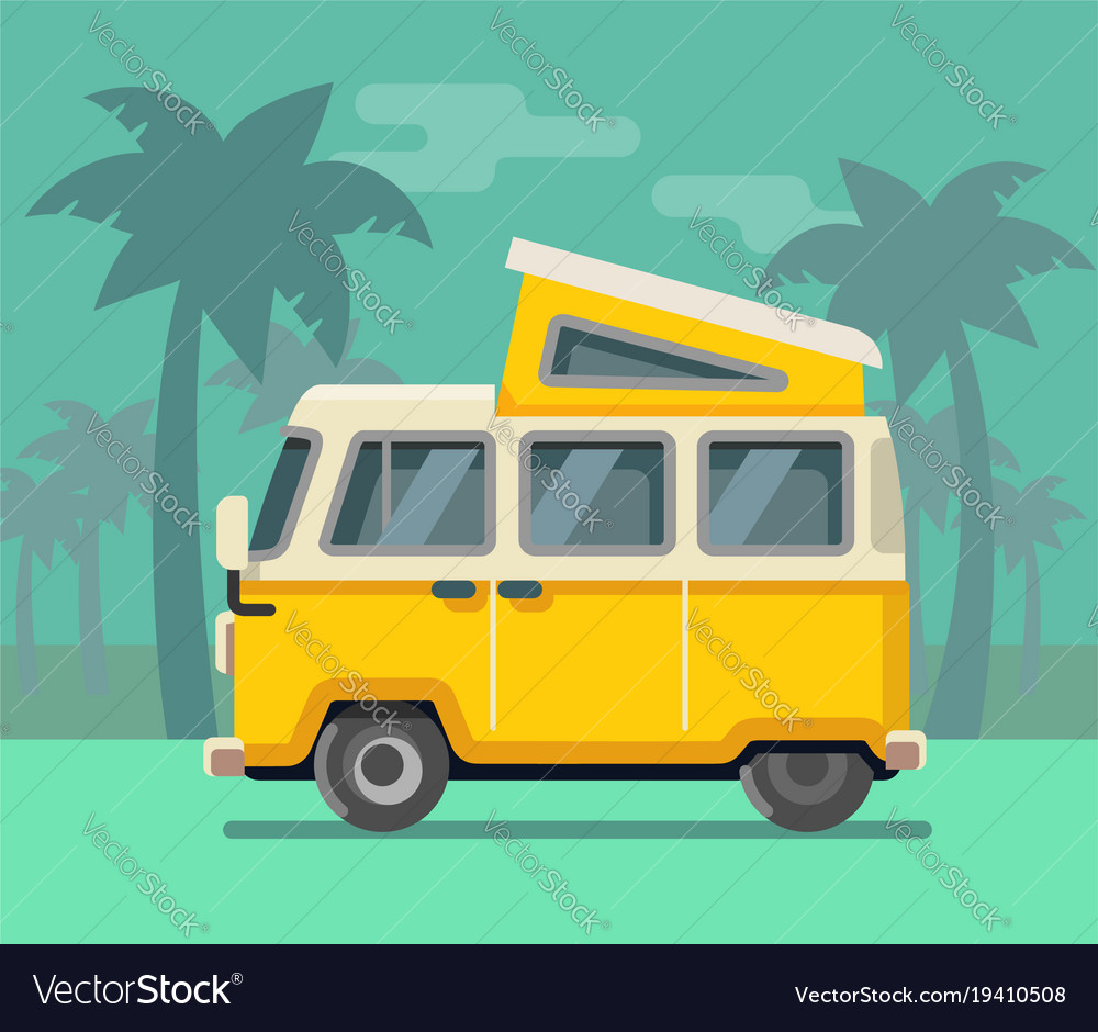Vintage van summer vacation time tropics