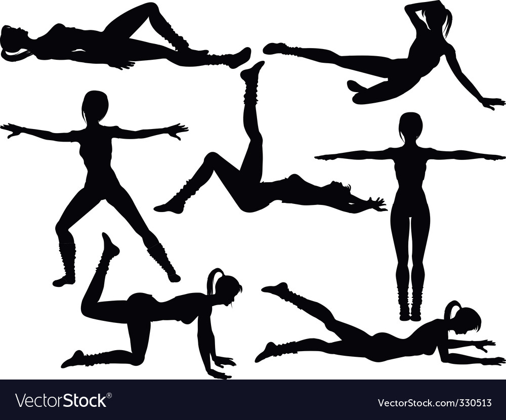Aerobics silhouettes vector image