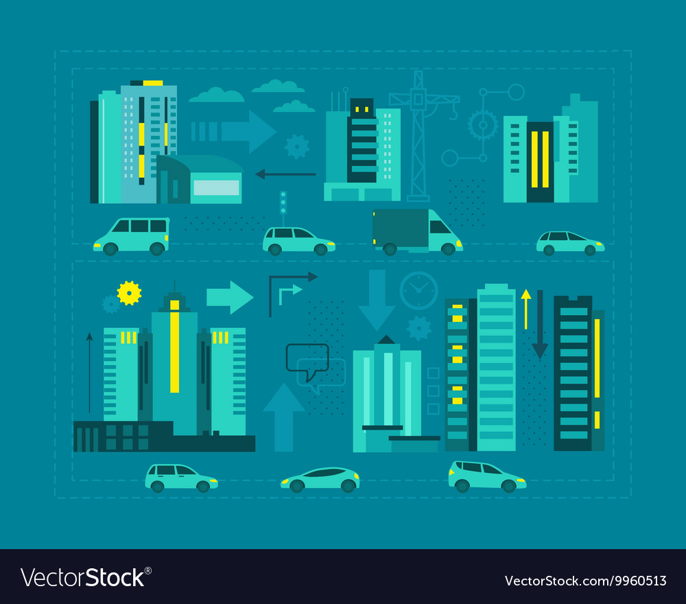 Cars in the city Metropolis street on blue vector image