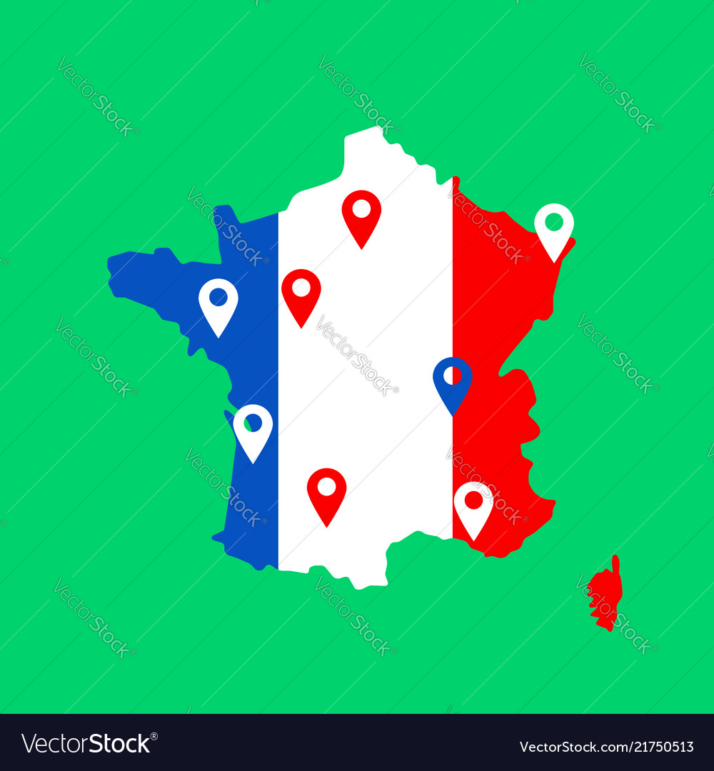 Color map of france with pins on main cities
