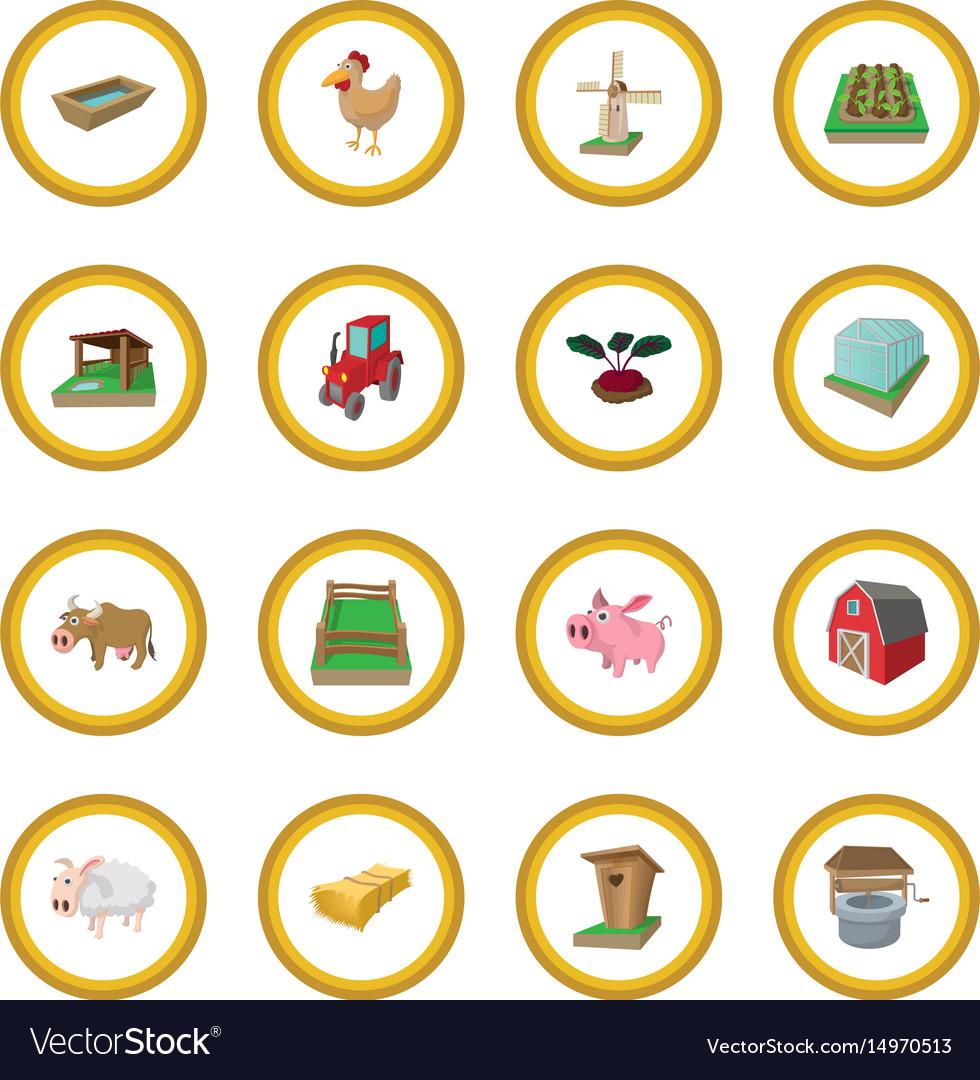 Farm cartoon icon circle vector image