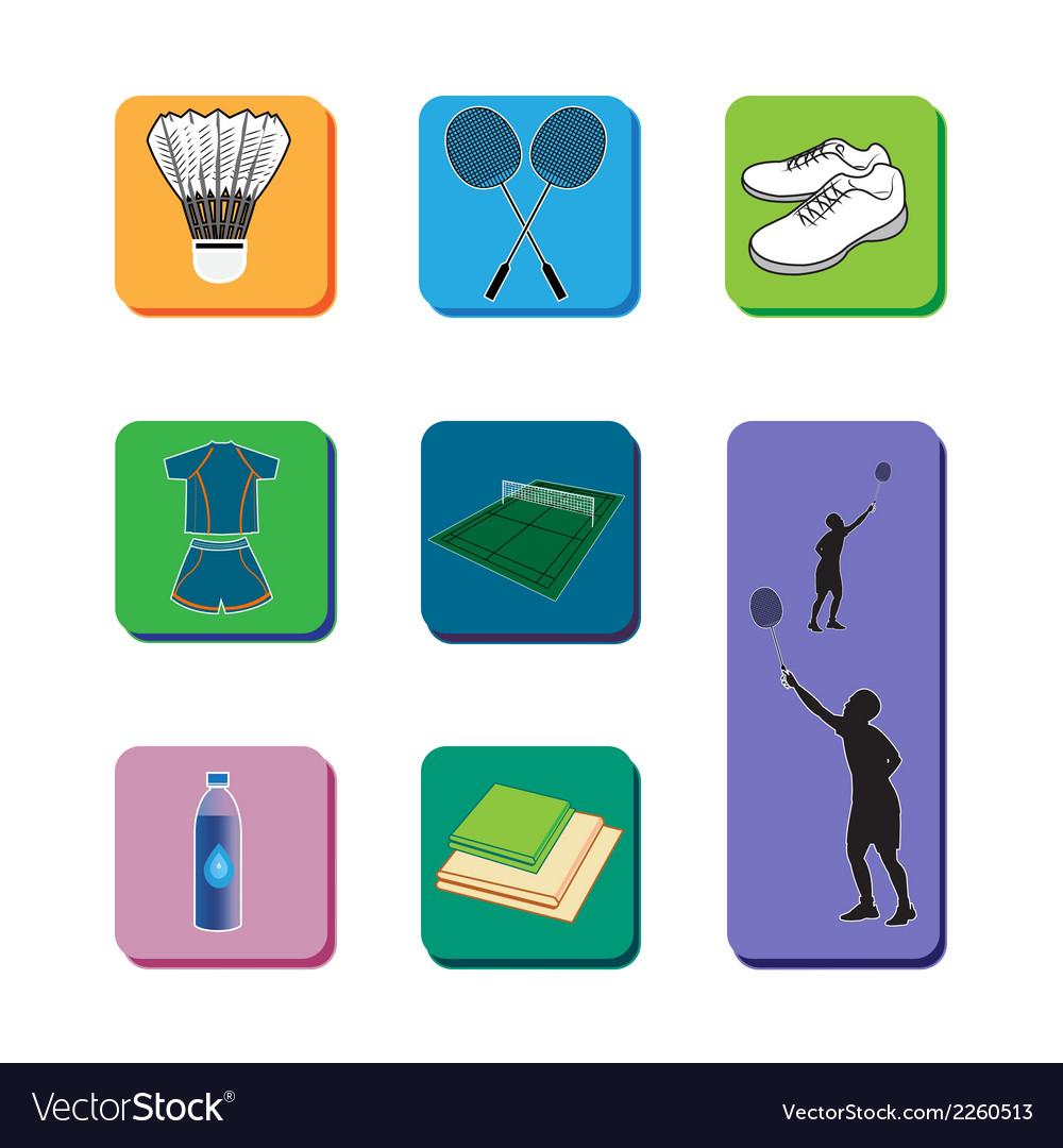 Icon Badminton set vector image