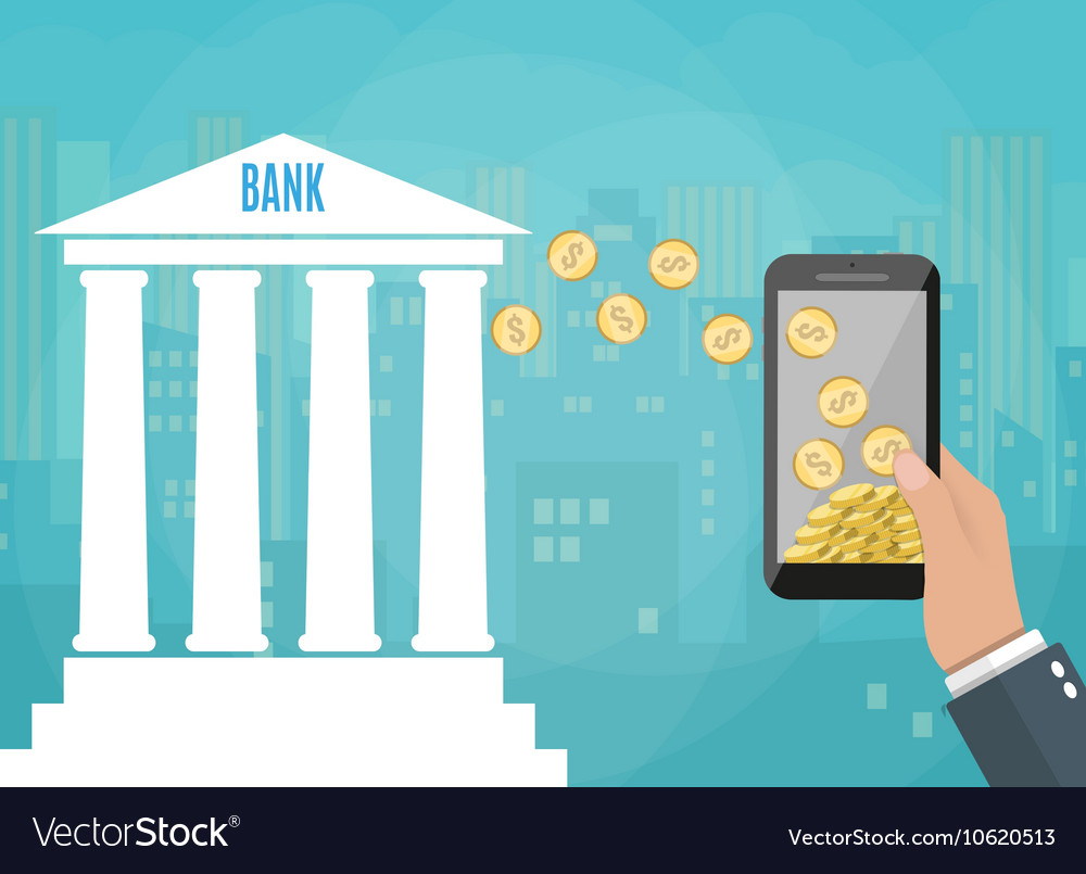 Mobile phone with gold coins and bank building