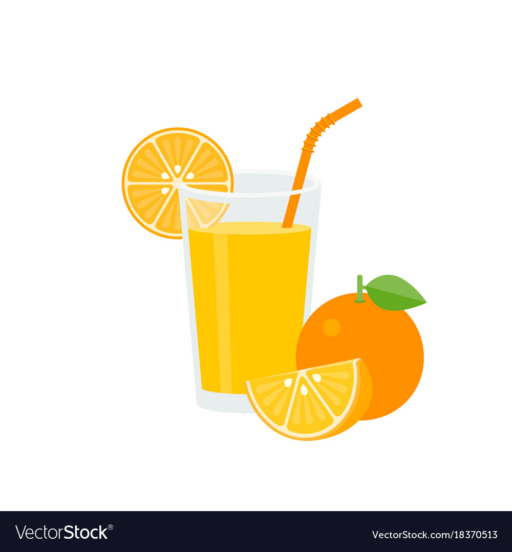 Orange juice in glass with green straw and ripe