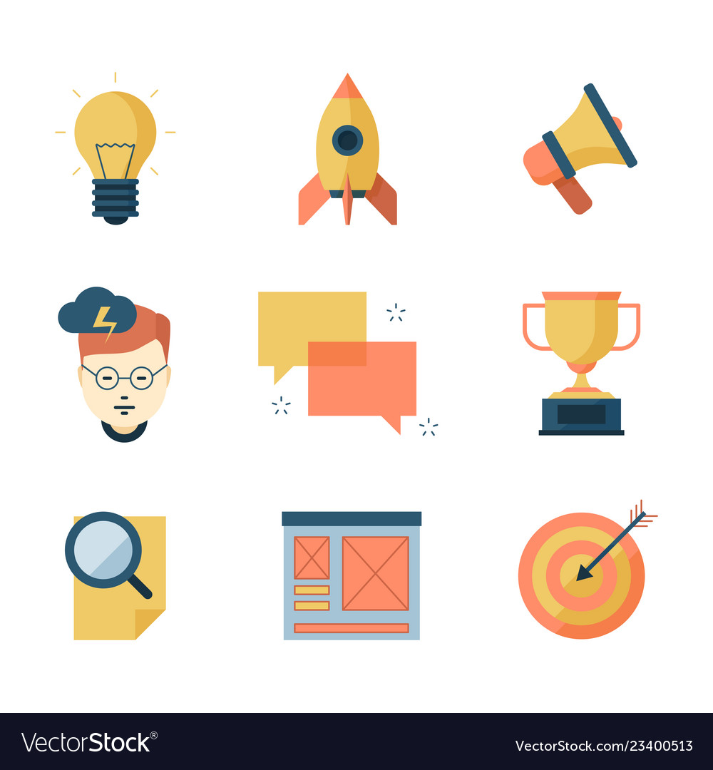 Seo smm business icons brainstorming