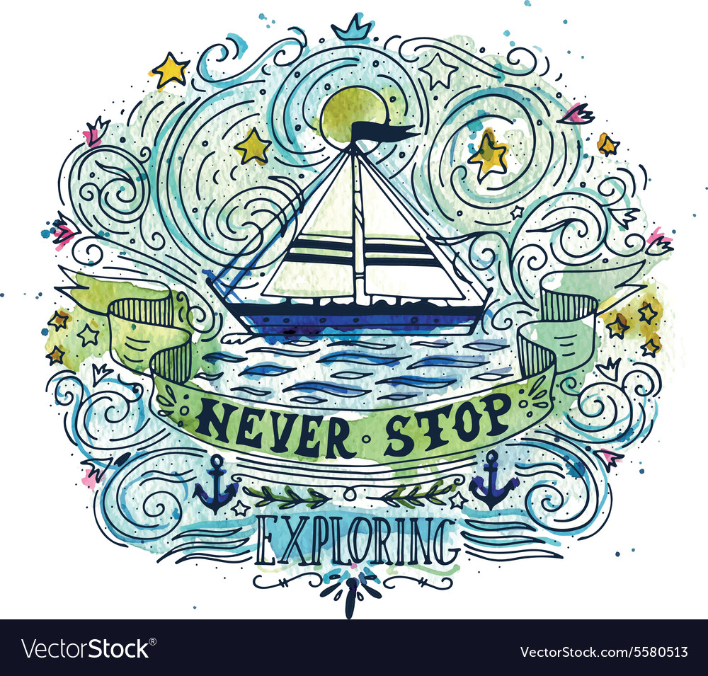 Watercolor vintage label with a ship and hand
