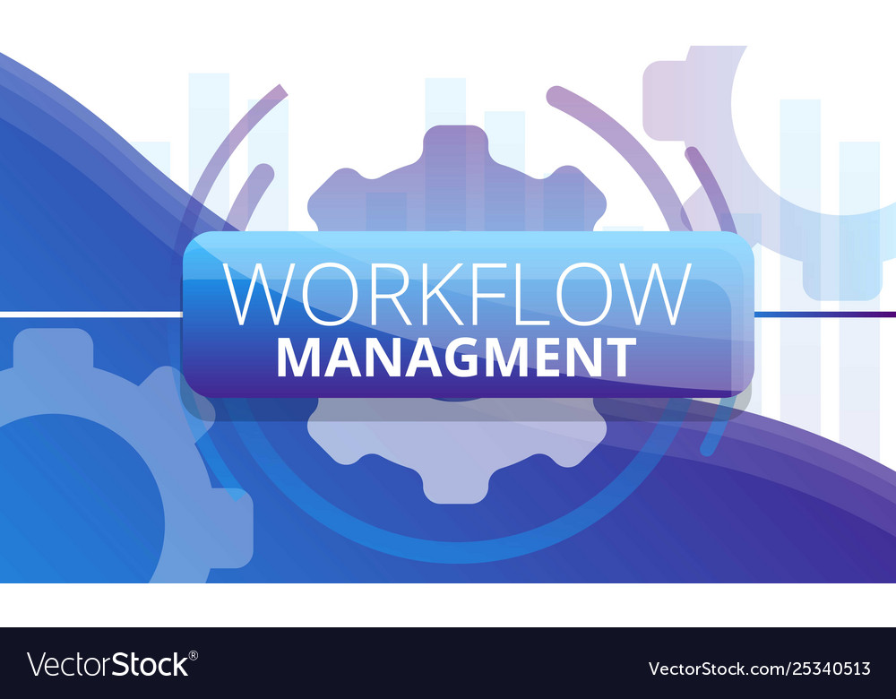 Workflow management concept banner cartoon style
