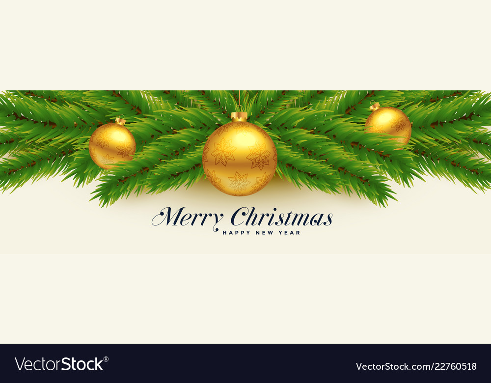Beautiful merry christmas leaves and golden balls Vector Image