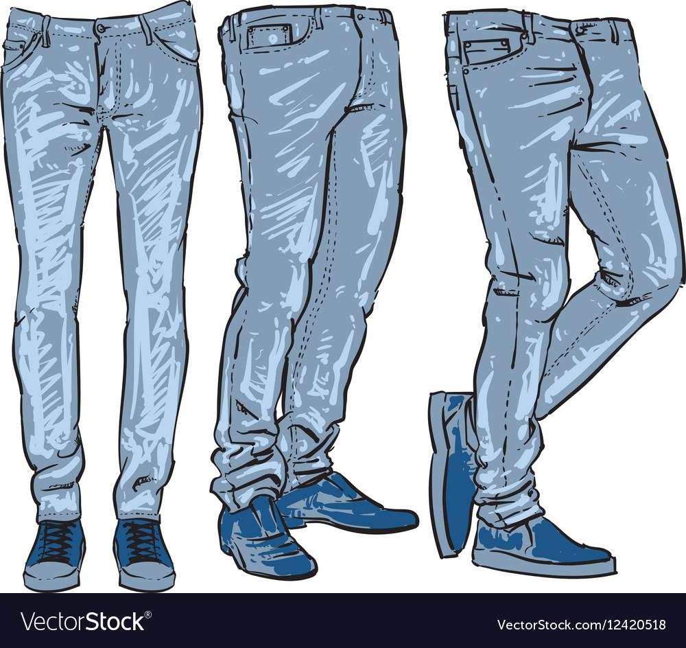 blue jeans set denim clip art sketch royalty free vector rh vectorstock com Cartoon Jeans Clip Art Cartoon Jeans Clip Art