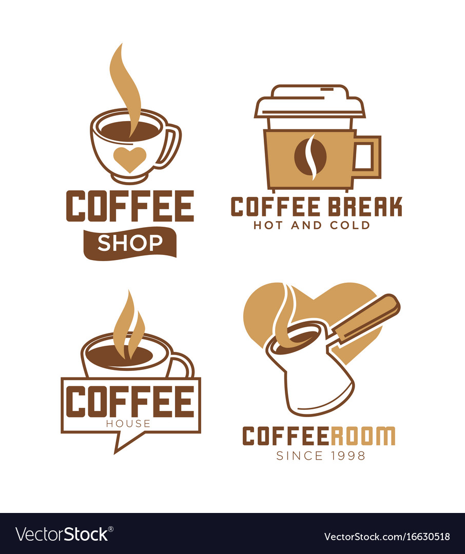 Coffee shop emblems with hot and cold beverages