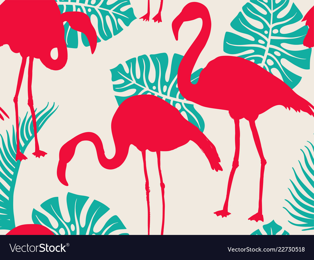 Colorful pattern with flamingo silhouettes and