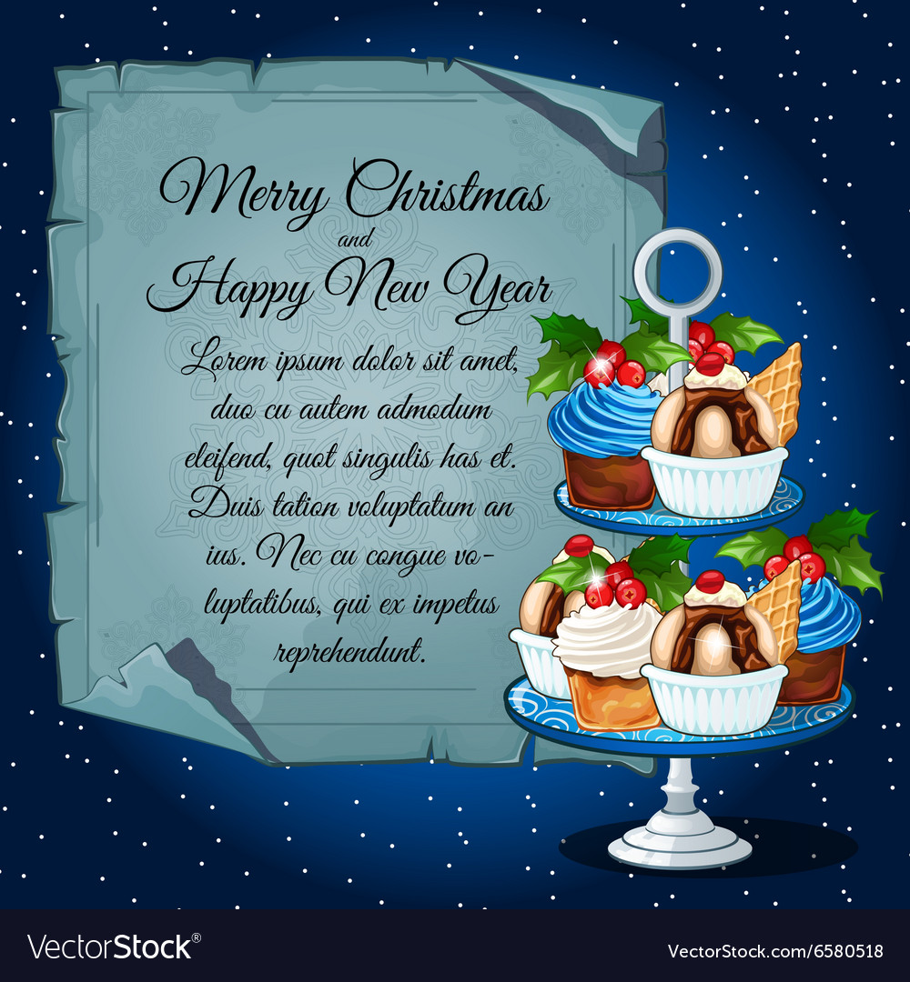 Cupcakes with holly berry and card for your text