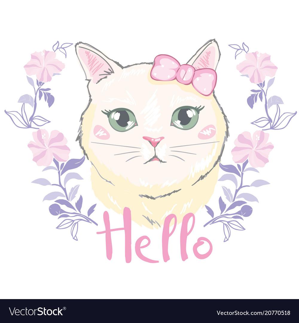 Cute cat t-shirt printlove cardsvalentine s vector image