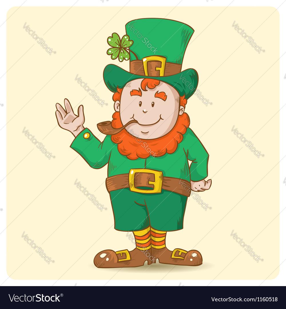 Cute Saint Patricks Leprechaun in top-hat
