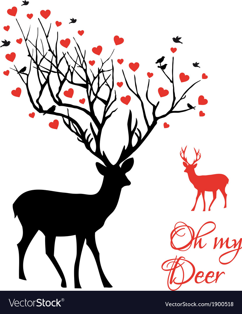 Deer couple with red hearts vector image