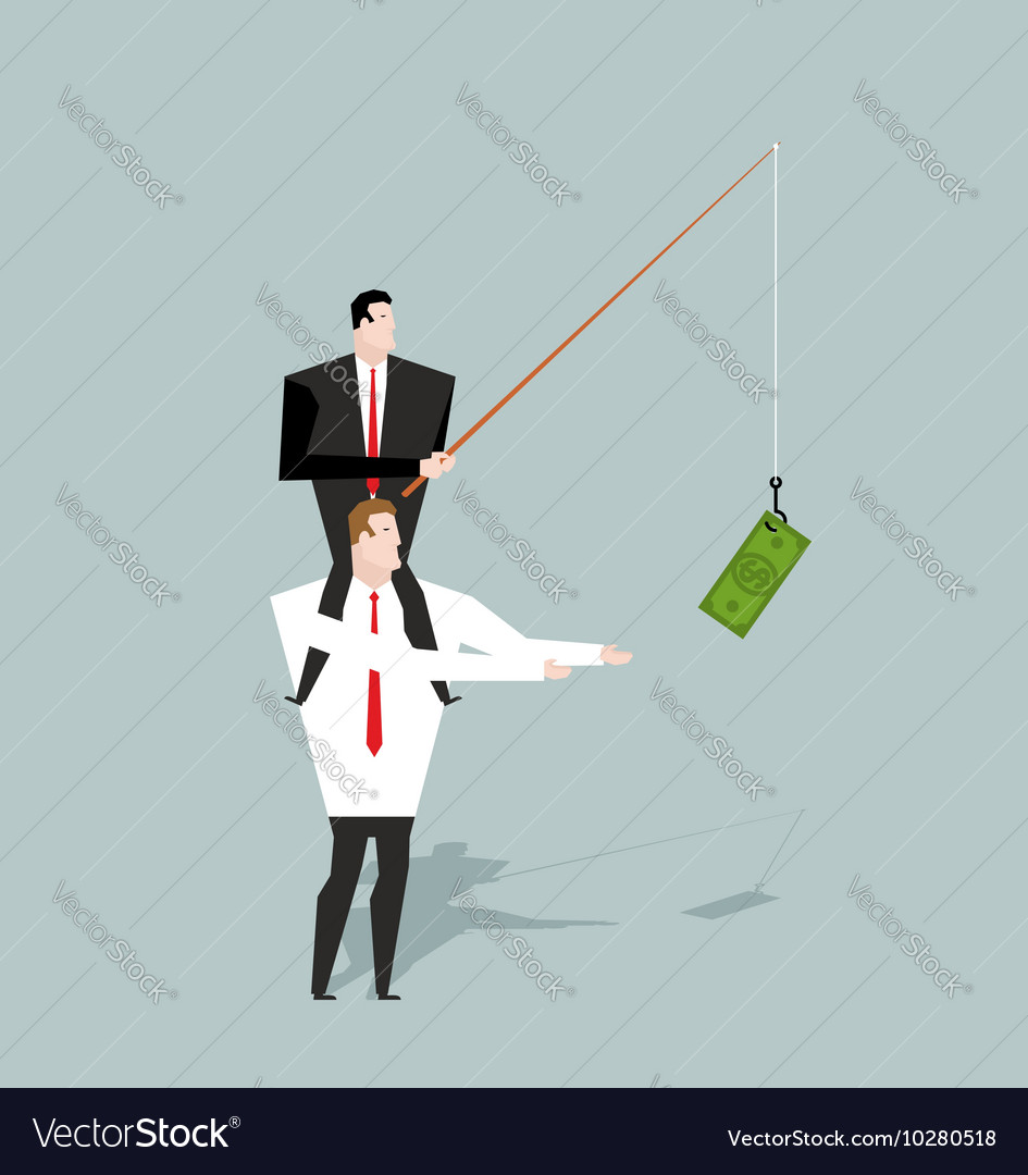 Financial motivation Boss holding on hook dollar vector image