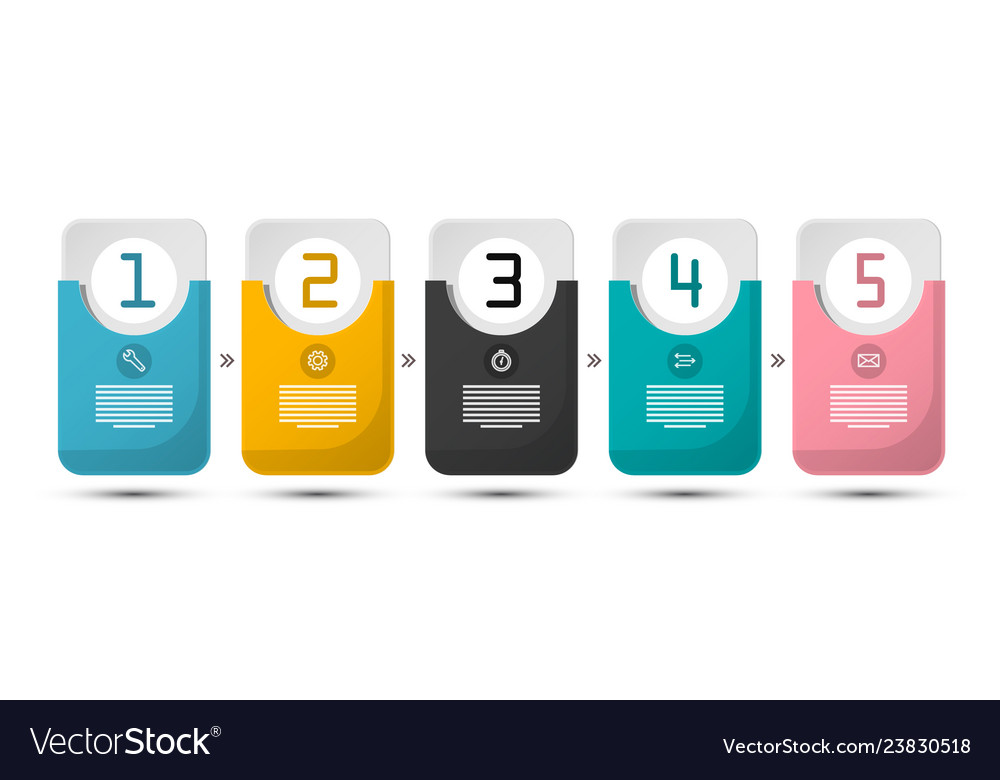 Five steps infographic layout paper labels set