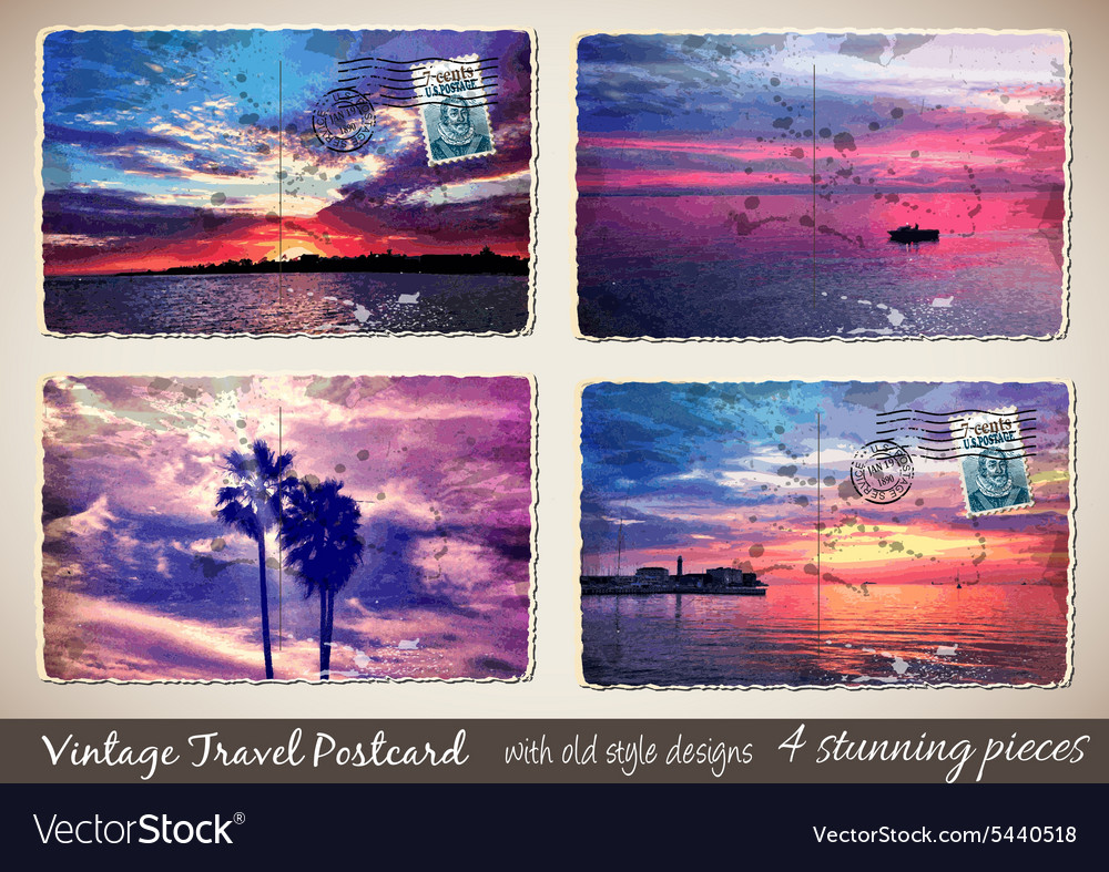 Set of 4 Stunning Vintage Postcard with old style vector image