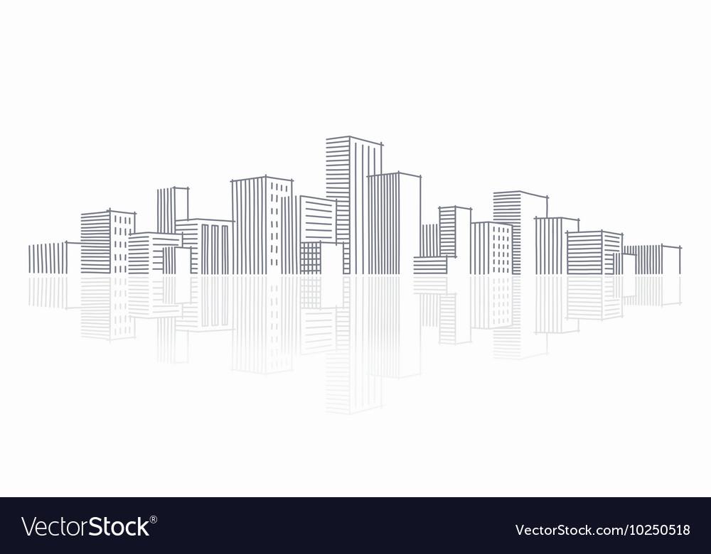 The sketch a city skyline