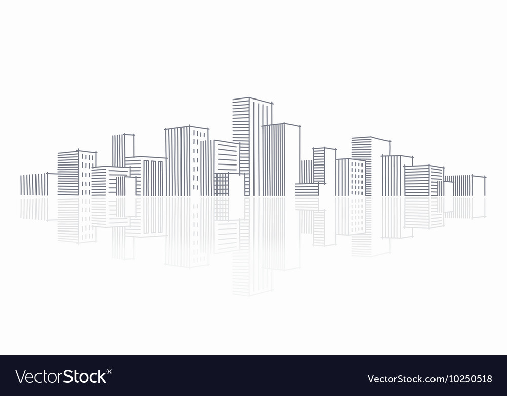 The sketch of a city skyline vector image
