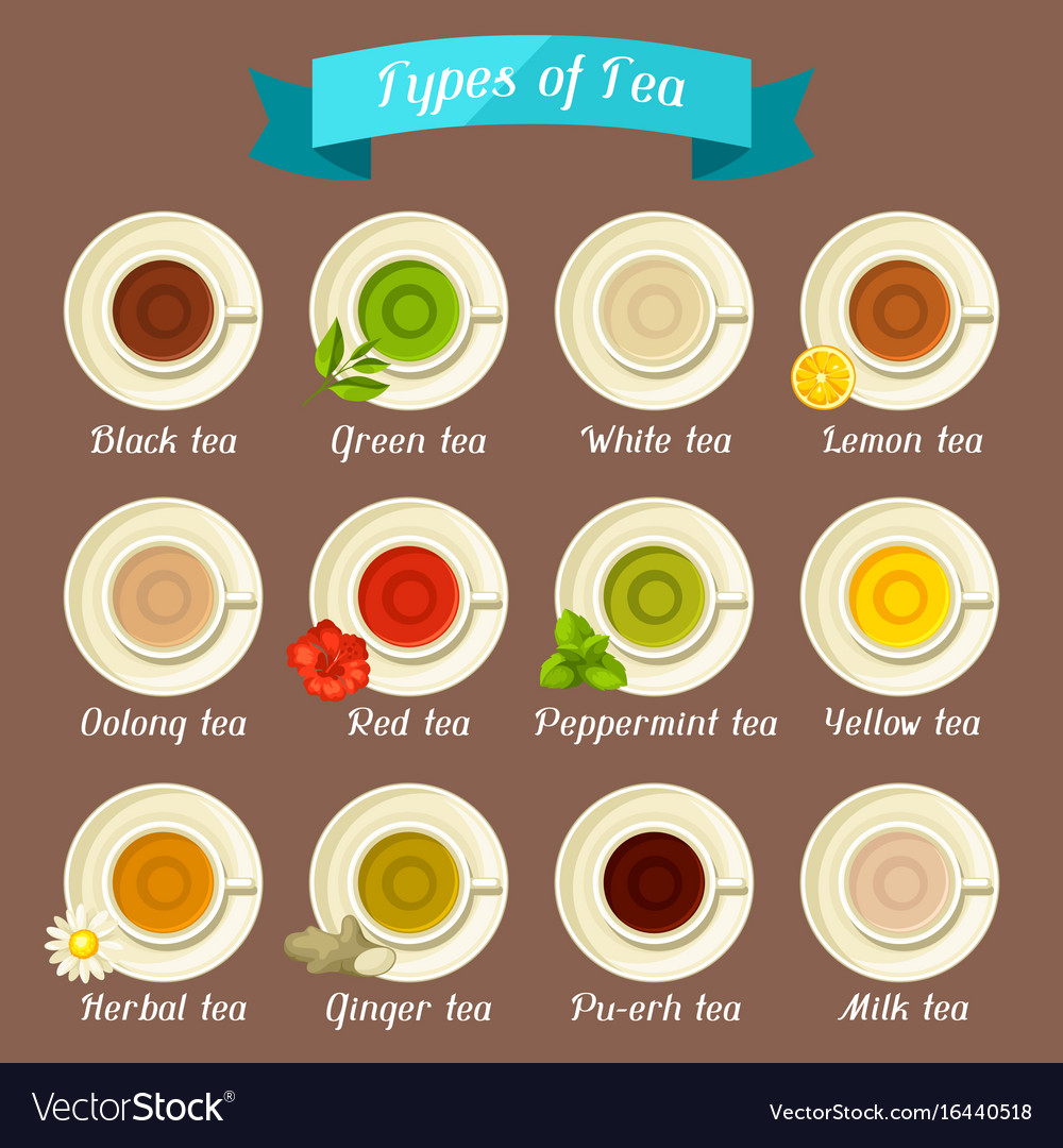 Types Of Tea Set Of Ceramic Cups With Different Vector Image
