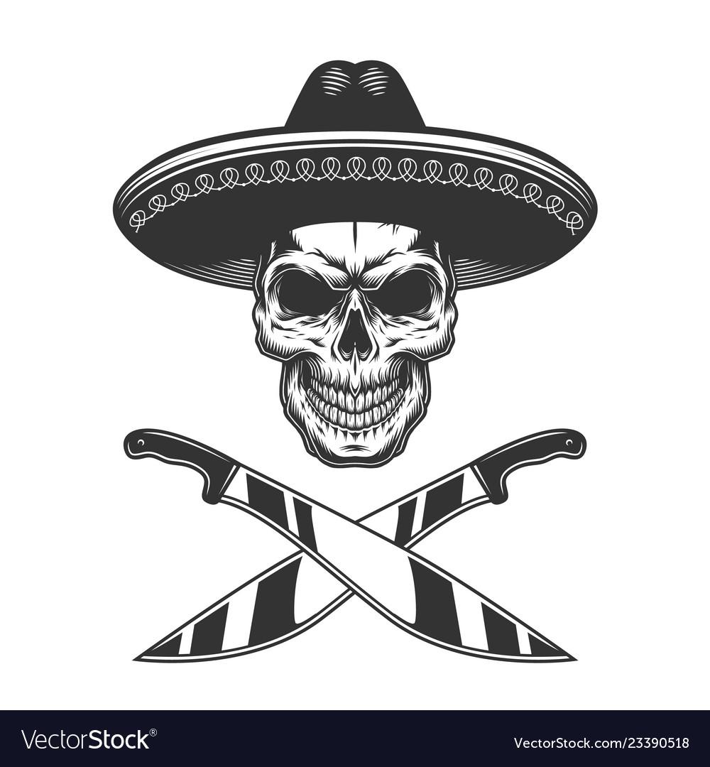 Vintage monochrome mexican skull in sombrero vector image